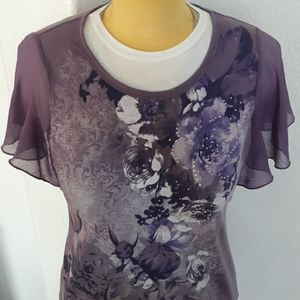 Faded Glory Dressy Lavender Short Sleeve Blouse